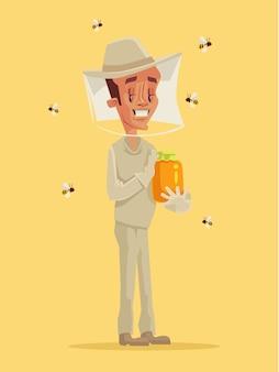 Imker im spezialanzug halten glas mit honig. flache karikaturillustration