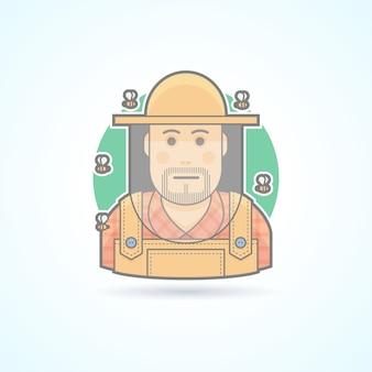 Imker umgeben von bienen, mann in einer bienenschutzschleierikone. avatar und personenillustration. farbig umrissener stil.
