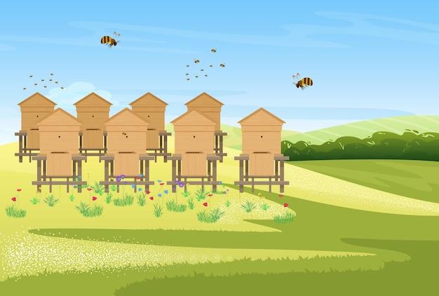 Imkerei bienenhaus auf blumenwiese feld dorflandschaft honigfarm produktion