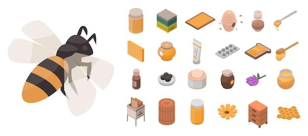 Imkerei-icon-set. isometrischer satz bienenhausvektorikonen für das webdesign lokalisiert auf weißem hintergrund
