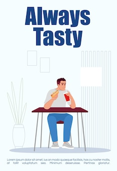 Immer leckere postervorlage. traditionelles kommerzielles flyerdesign für snacks zum mitnehmen mit halbflacher illustration. vektor-cartoon-promo-karte. köstliche werbeeinladung für fast-food-restaurants
