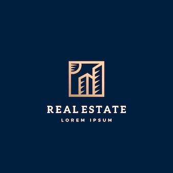 Immobilien abstrakte zeichen-, symbol- oder logo-vorlage.