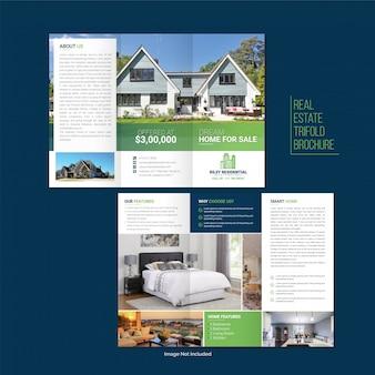 Immobilien dreifach gefaltete broschüre vorlage