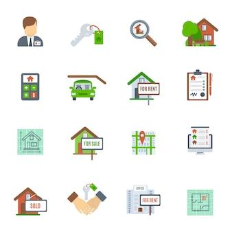 Immobilien-flache ikone