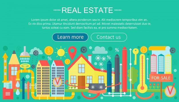Immobilien flache infografiken vorlage
