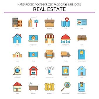 Immobilien flache linie icon set