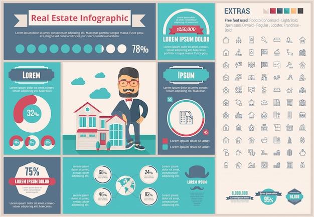 Immobilien flaches design infographik vorlage
