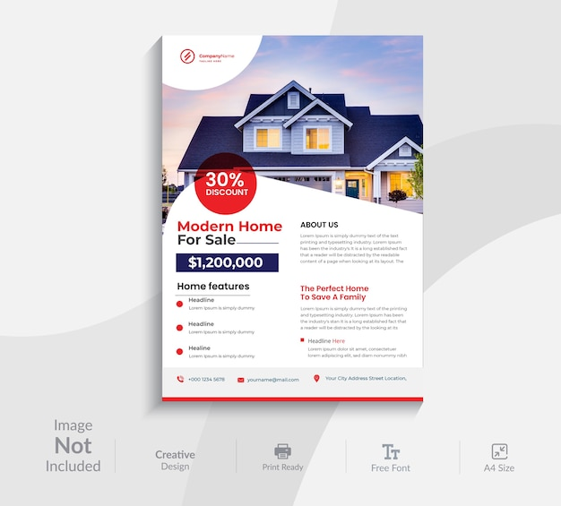 Immobilien flyer design-vorlage
