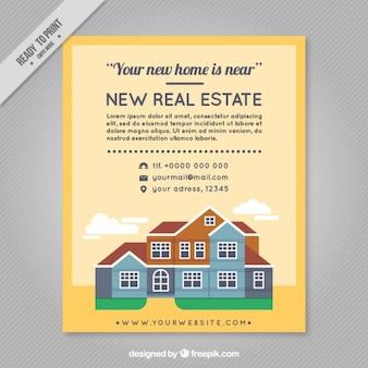 Immobilien-flyer mit netten häusern