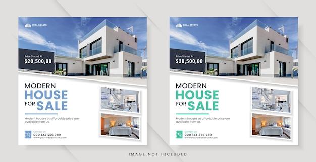 Immobilien für social-media-beiträge oder quadratische banner-vorlage