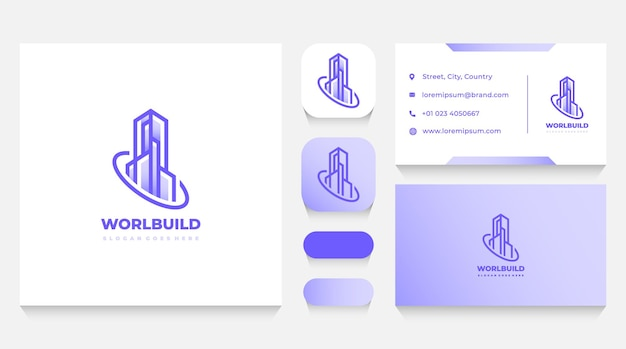 Immobilien-gebäude-logo-vorlage und visitenkarte