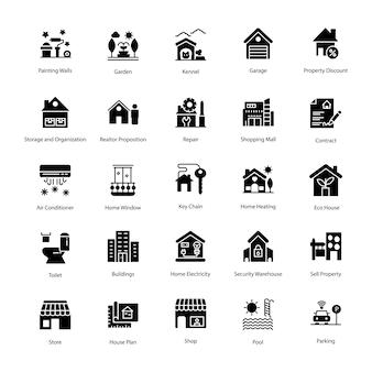 Immobilien glyphe icons set