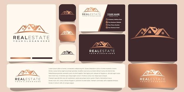 Immobilien gold logo design mit visitenkarte