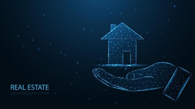 Immobilien. hand geben mit einem landhaus-symbol. leitungsverbindung. low-poly-wireframe-design. abstrakter geometrischer hintergrund. vektor-illustration.