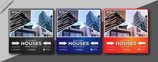 Immobilien haus immobilien social media oder instagram quadratische posttemplate