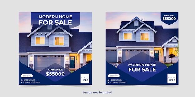 Immobilien haus verkauf social media banner post vorlage