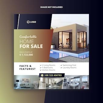 Immobilien haus verkauf social media post und web banner