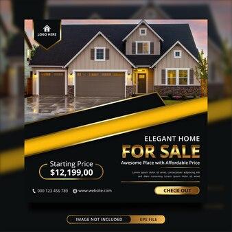 Immobilien-haus zum verkauf social-media-banner-vorlage
