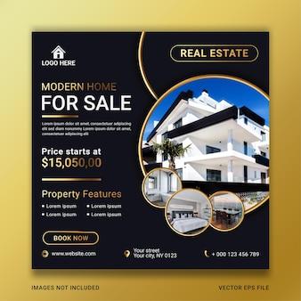 Immobilien-hausverkauf-banner-vorlage für social media-post