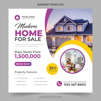 Immobilien hausverkauf und hausmiete werbung geometrisches modernes quadrat social media post banner