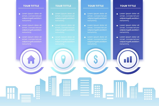 Immobilien-infografiken im farbverlauf