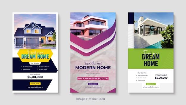 Immobilien instagram verkauf geschichte set design instagram business social media banner