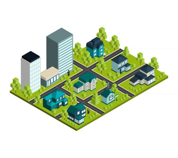 Immobilien isometrisch
