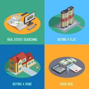 Immobilien isometrische elemente