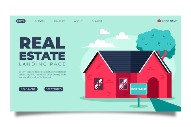 Immobilien-landingpage mit illustration Kostenlosen Vektoren