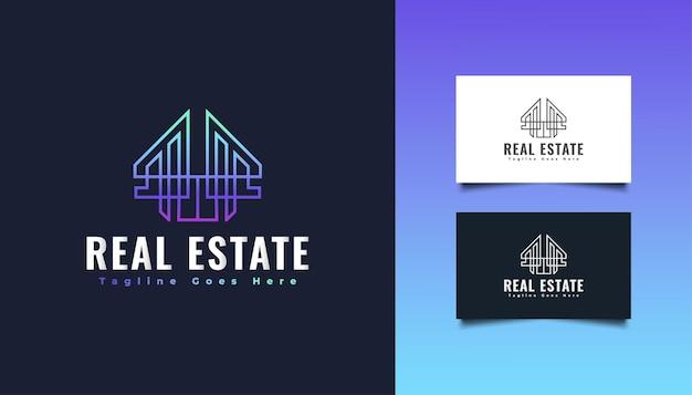 Immobilien-logo-design in buntem farbverlauf mit linienstil.