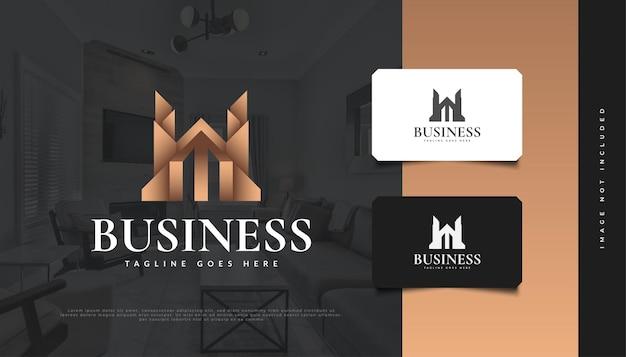 Immobilien-logo-design in luxusgold. abstraktes gebäude für immobilienfirmenlogo