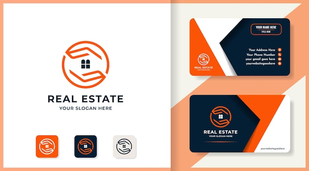Immobilien-logo-design mit abstrakter hand und visitenkarte