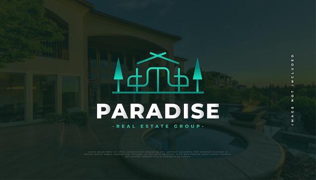 Immobilien-logo-design mit linienstil, geeignet für reisen, tourismus und resort-industrie