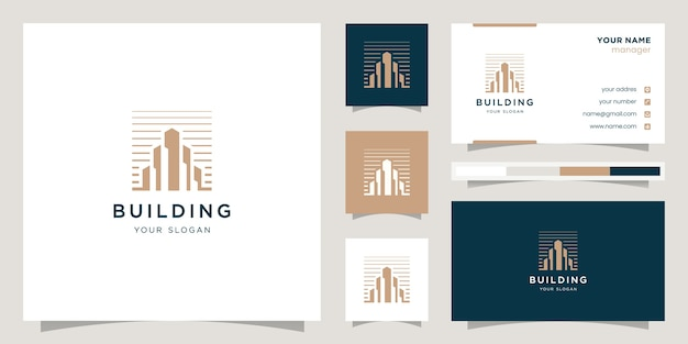 Immobilien-logo-design mit strichzeichnungen. logo-design und visitenkarten-design