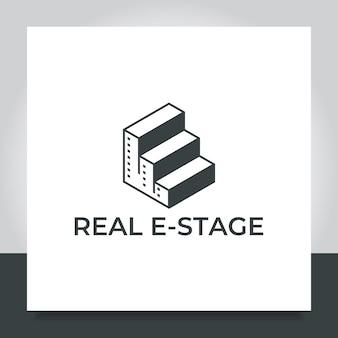 Immobilien logo design treppenstufe stadt