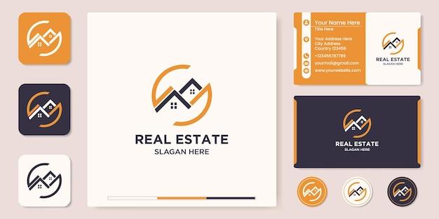 Immobilien-logo-design und visitenkarte