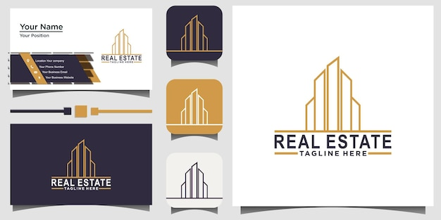 Immobilien-logo-design vektor mit hintergrundschablonen-visitenkarte