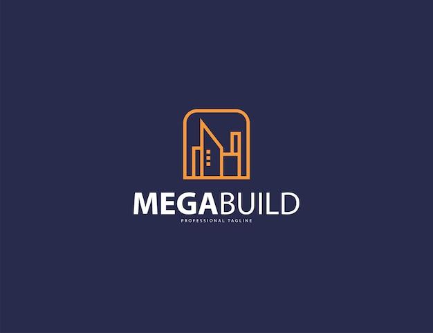 Immobilien-logo-design-vorlage auf dunkelblauem hintergrund