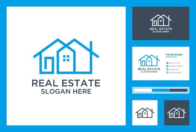 Immobilien-logo-inspiration mit visitenkarten-design-vektor.