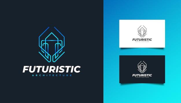 Immobilien-logo mit futuristischem konzept in blauem farbverlauf. bau-, architektur-, gebäude- oder hauslogo