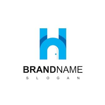 Immobilien-logo mit h-initiale und türsymbol