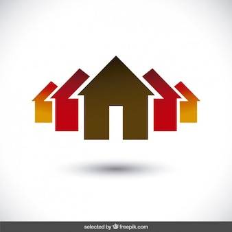 Immobilien logo mit haus silhouetten