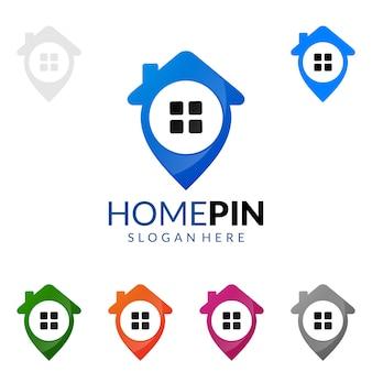 Immobilien logo mit haus und find home concept