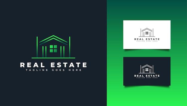 Immobilien-logo mit linienstil im grünen farbverlauf. bau-, architektur-, gebäude- oder hauslogo