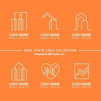 Immobilien-logo-sammlung auf einem orangefarbenen hintergrund
