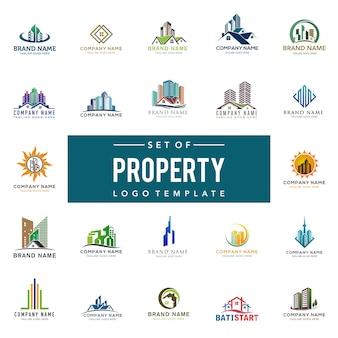 Immobilien-logo-satz, kreative haus-logo-sammlung, abstrakter gebäude-logo set