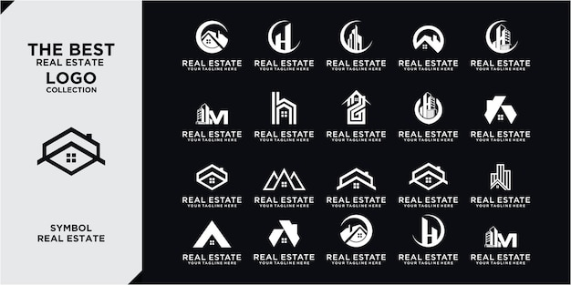 Immobilien-logo-set / creative house logo collection / abstrakte gebäude-logo-set. sammlung von gebäudearchitektur-sets, immobilien logo design line art style