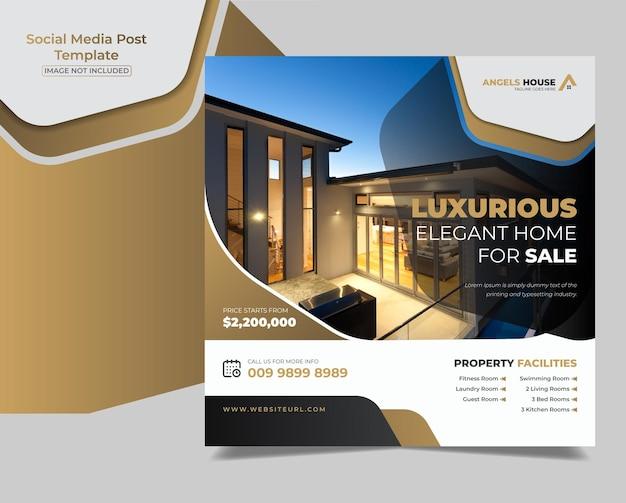 Immobilien luxushaus zum verkauf social media banner vorlage