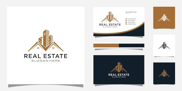 Immobilien mit gebäude- und hauslogo-design und visitenkarte