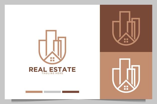 Immobilien mit logo-design für haus- und städtebau